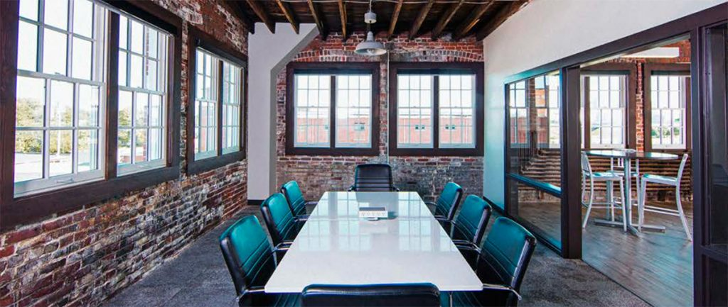 Conference table in a room